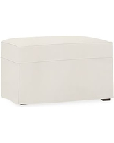 Cameron Slipcovered Ottoman, Polyester Wrapped Cushions, Denim Warm White