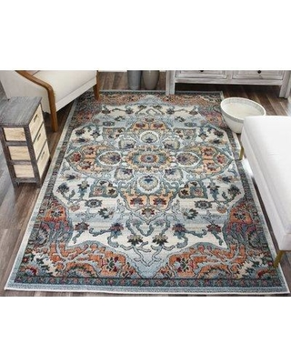 "World Menagerie Kauffman Brown/Blue Area Rug CJ229715 Rug Size: Rectangle 2'2"" x 4'0"""