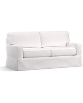 "Buchanan Square Arm Slipcovered Loveseat 77.5"", Polyester Wrapped Cushions, Twill White"