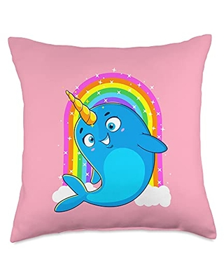 Unicorn Squad Goals Gift Store Narwhal Unicorn Gifts for Girls Women Throw Pillow, 18x18, Multicolor