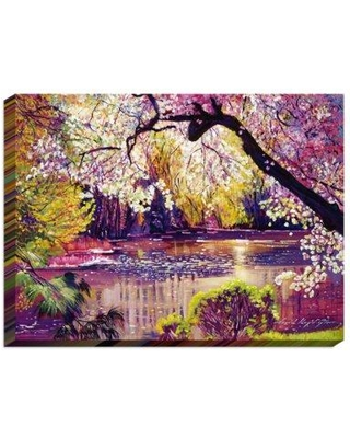 """DiaNoche Designs 'Central Park Spring Pond' by David Lloyd Glover Print on Canvas CAN-DavidLloydGloverCentralParkSpringPond Size: 24"""" H x 36"""" W x 1.5"""" D Format: Wrapped Canvas"""