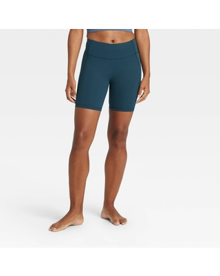 """Women's Contour High-Rise Bike Shorts 7"""" - All in Motion Navy Teal L, Blue Blue"""