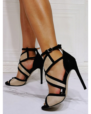 Milanoo High Heel Sexy Sandals Light Apricot Micro Suede Upper Open Toe Ankle Strap Heels