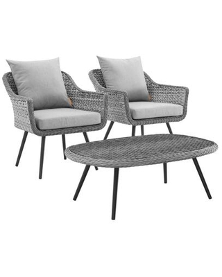 Endeavor Collection EEI-3179-GRY-GRY-SET 3 PC Outdoor Patio Wicker Rattan Sectional Sofa Set with Powder-Coated Aluminum Frame and Synthetic PE