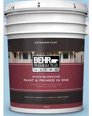 BEHR ULTRA 5 gal. #M490-2 Carefree Sky Flat Exterior Paint and Primer in One