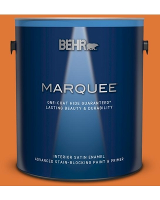 BEHR MARQUEE 1 gal. #240B-7 Carrot Stick Satin Enamel Interior Paint and Primer in One