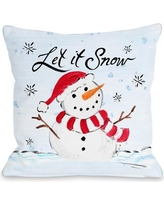 "The Holiday Aisle Let It Snow Snowman Throw Pillow THDA4606 Size: 18"" x 18"""