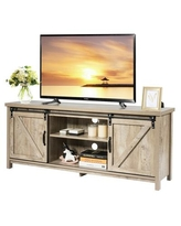 Costway Farmhouse TV Stand Media Center Cabinet with Sliding Barn Door
