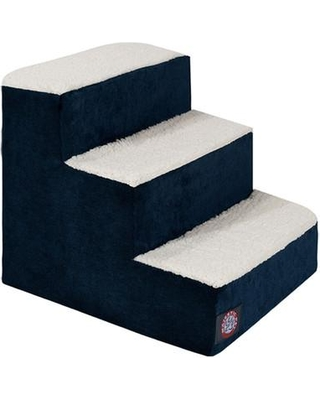 "Majestic Pet Products Villa 3 Step Pet Stair, Fabric in Navy, Size 15""H X 16""W X 18""D 