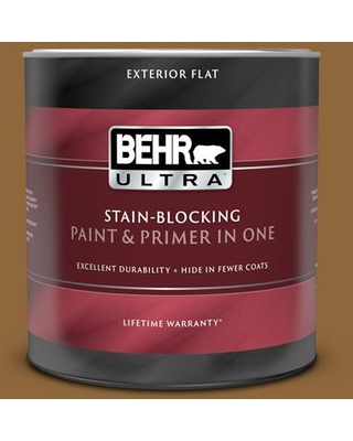 BEHR ULTRA 1 qt. #300D-7 Spanish Leather Flat Exterior Paint and Primer in One