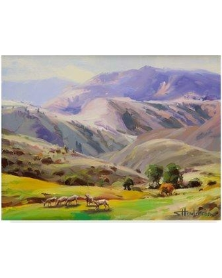 """Trademark Fine Art 'Grazing in the Salmon River Mountains' Acrylic Painting Print on Wrapped Canvas ALI32054-CGG Size: 18"""" H x 24"""" W x 2"""" D"""