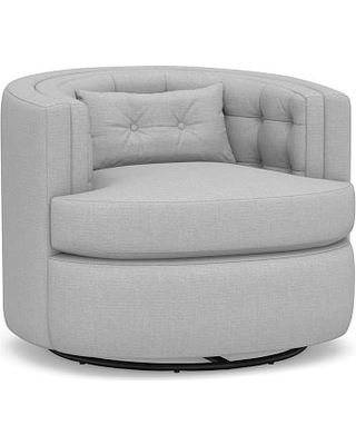 Reed Upholstered Swivel Armchair, Down Blend Wrapped Cushions, Brushed Crossweave Light Gray