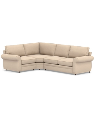 Pearce Roll Arm Upholstered Right Arm 3-Piece Wedge Sleeper Sectional, Down Blend Wrapped Cushions, Performance Everydayvelvet(TM) Buckwheat