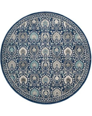 """Andover Mills Aegean Blue/Ivory Area Rug ANDO2227 Rug Size: Round 6'7"""""""