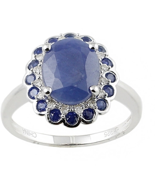 Pinctore White Sterling Silver Natural Indian Blue Sapphire and Diamond Classic Ring (Size 7)