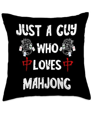 Traditional Chinese Game Playing Mah Jong Gifts Just A Guy Who Loves Mahjong Tiles Chinese Game Mah Jongg Throw Pillow, 18x18, Multicolor