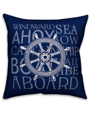 Designs Direct Sea Sentiments Square Outdoor Throw Pillow in Blue