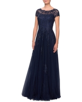 La Femme Embroidered Lace Illusion Yoke A-Line Gown, Size 2 in Navy at Nordstrom