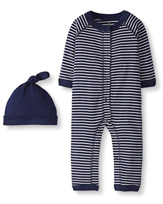 Moon and Back by Hanna Andersson Baby Snap Front One-Piece Organic Cotton Long Sleeve Romper with Cap Set, Navy, 6-12 months