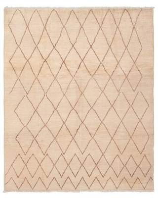 """One-of-a-Kind Christin Hand-Knotted 2010s Moroccan Beige 8'2"""" x 9'10"""" Wool Area Rug Foundry Select"""