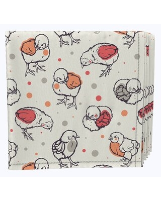 "Napkin Set, 100% Milliken Polyester, Machine Washable, Set Of 12, 18X18"", Curious Chickies Fabric Textile Products, Inc."