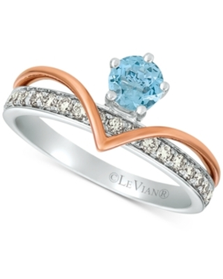 Le Vian Royalty Collection Sea Blue Aquamarine (1/3 ct. t.w.) & Nude Diamonds (1/3 ct. t.w.) Statement Ring in 14k White Gold and 14k Rose Gold