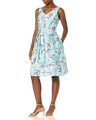 Tahari ASL Women's Sleeveless V-Neck Fit and Flare Party Dress, Ivory Turquoise Floral, 12