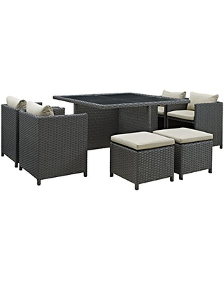 Modway Sojourn Wicker Rattan Outdoor Patio Sunbrella Fabric, 9-pc Dining Set in Antique Canvas Beige