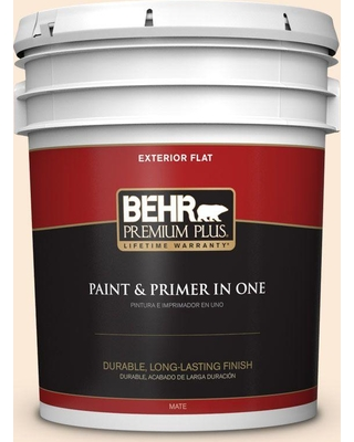 BEHR PREMIUM PLUS 5 gal. #270A-1 Peach Fade Flat Exterior Paint and Primer in One