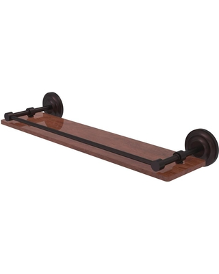Allied Brass Que New Collection 22 in. Solid IPE Ironwood Shelf with Gallery Rail in Antique Bronze