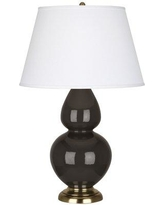 "Robert Abbey Double Gourd 31"" Table Lamp RAB4050 Base Finish: Coffee Glazed Ceramic/Antique Brass"
