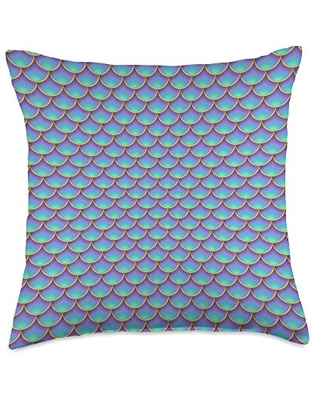 The Mermaid Shop by Vine Mercantile Cool Purple & Teal Mermaid Tail Fish Scale Pattern Throw Pillow, 18x18, Multicolor
