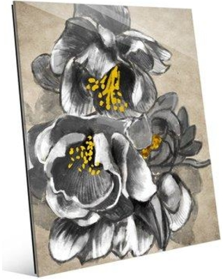 """Click Wall Art 'Flowering Quince in Black and White' Painting Print on Plaque STL0000071ACR11X14XXX Size: 14"""" H x 11"""" W x 1"""" D"""
