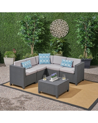 Waverly 6pc All Weather Faux Wicker Sectional Sofa Set - Dark Gray/Gray - Christopher Knight Home, Adult Unisex