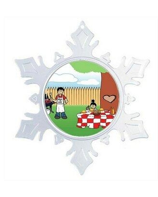 The Holiday Aisle® Personalized NTT Cartoon Snowflake Backyard Barbeque Single Dad 1 Girl Christmas Holiday Shaped Ornament, Plastic in Clear