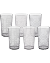CreativeWare 6pc Acrylic Etched Tumblers, Clear