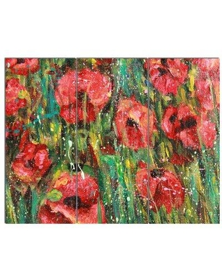 Design Art 'Red Poppies Watercolor Drawing' 3 Piece Painting Print on Wrapped Canvas Set PT14972-3P
