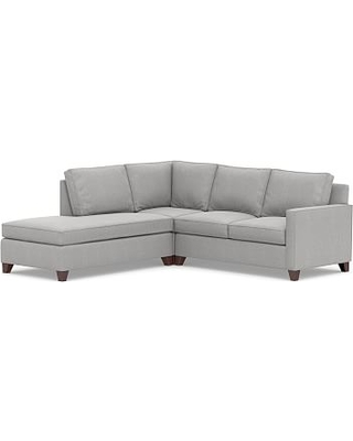 Cameron Square Arm Upholstered Right 3-Piece Bumper Corner Sectional, Polyester Wrapped Cushions, Sunbrella(R) Performance Chenille Fog