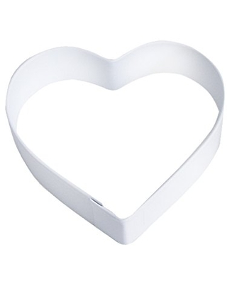 """R&M Heart 3.25"""" Cookie Cutter White With Brightly Colored, Durable, Baked-on Polyresin Finish"""