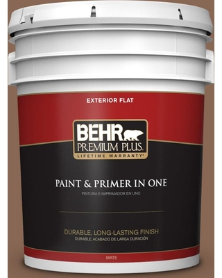 BEHR Premium Plus 5 gal. #PPU3-17 Clay Pot Flat Exterior Paint and Primer in One