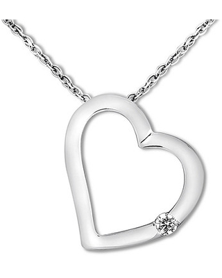 Jared The Galleria Of Jewelry Heart Necklace Diamond Accent 10K White Gold
