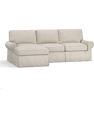 PB Basic Right 2-Piece Sectional with Chaise, Polyester Wrap Cushions, everydaysuede(TM) Stone