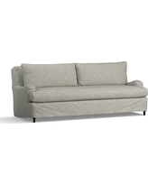 "Carlisle Slipcovered Grand Sofa 90.5"" with Bench Cushion, Down Blend Wrapped Cushions, Premium Performance Basketweave Light Gray"