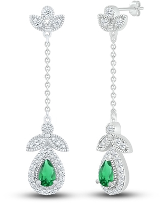 Jared The Galleria Of Jewelry Lab-Created Emerald & Lab-Created Sapphire Earrings Sterling Silver
