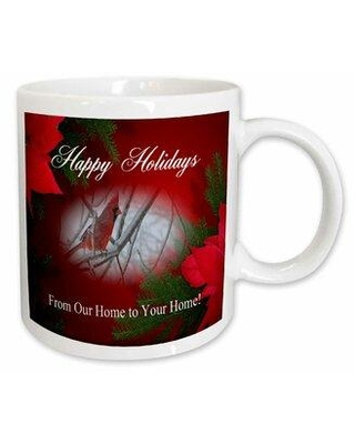 East Urban Home Redbird and Poinsettias Happy Holidays from Our Home to Your Home Coffee Mug X111071913