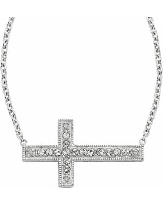 Diamond Splendor Sterling Silver Crystal and Diamond Accent Sideways Cross Necklace, Women's, White