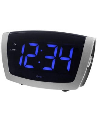 Equity By La Crosse 1.8 Inch LED Blue Digit Alarm Clock with USB charging port (75904) | Quill