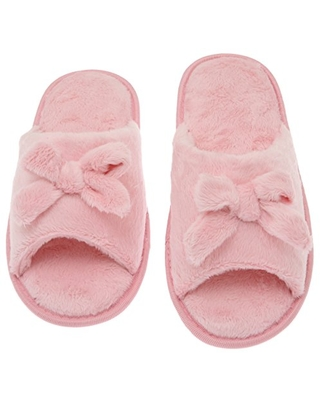 Deluxe Comfort Womens Butterfly Bow Slip-On Memory Foam House Slippers, Size 5-6 - Open Toe - Pamper Your Feet With Cozy Fleece Memory Foam - Durable Non-Marking Ruber Sole - Womens Slippers, Pink