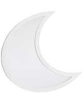 NoJo Moon Shaped Mirror - Easy Hang Shatter Proof Mirror, Wooden Backed Decorative Mirror for Nursery, Kids Bedroom or Playroom, White