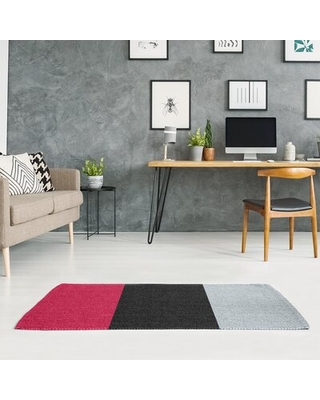 Striped Red/Black/Silver Area Rug East Urban Home Rug Size: Rectangle 6' x 4'